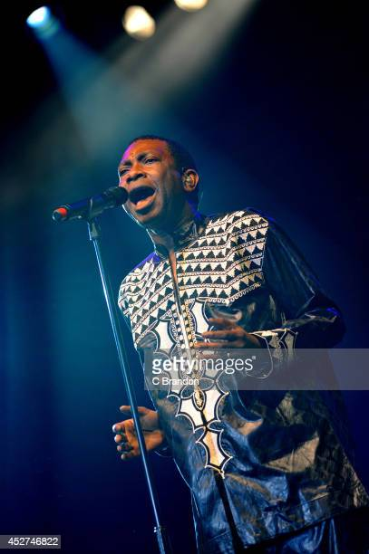 Youssou N'Dour headlines on stage during day 3 of the Womad Festival at Charlton Park on July 26 2014 in Wiltshire United Kingdom
