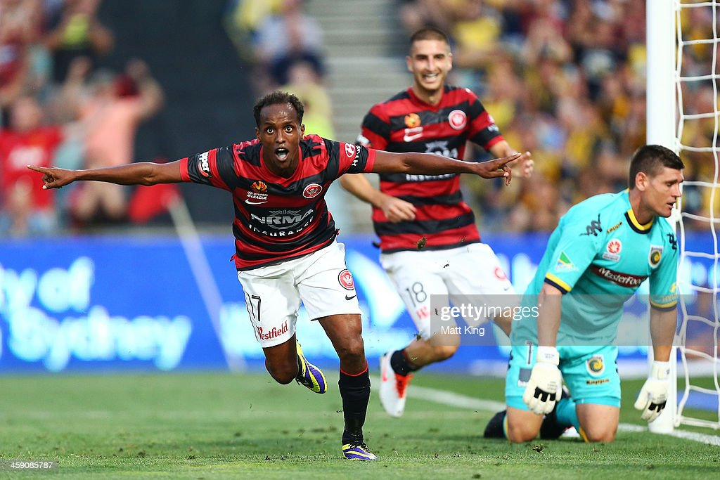 Youssouf Hersi of the Wanderers celebrates scoring the second goal during the round 11 A-League match between the Western Sydney Wanderers and the Central Coast Mariners at Parramatta Stadium on December 23, 2013 in Sydney, Australia.