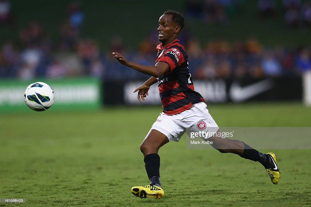 Youssouf Hersi of the Wanderers chases the ball during the round 20 A-League match between the Western Sydney Wanderers and the Newcastle Jets at Campbelltown Sports Stadium on February 9, 2013 in Sydney, Australia.