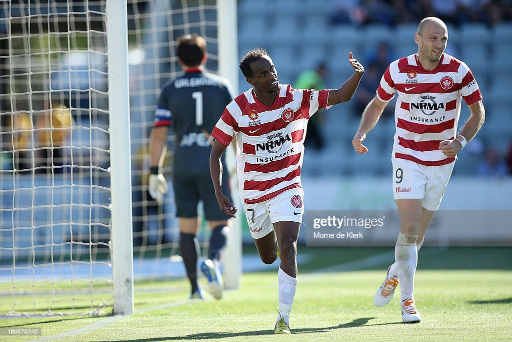 Youssouf Hersi (C) of Western Sydney celebrates after scoring a goal during the round 19 A-League match between Adelaide United and the Western Sydney Wanderers at Hindmarsh Stadium on February 3, 2013 in Adelaide, Australia.