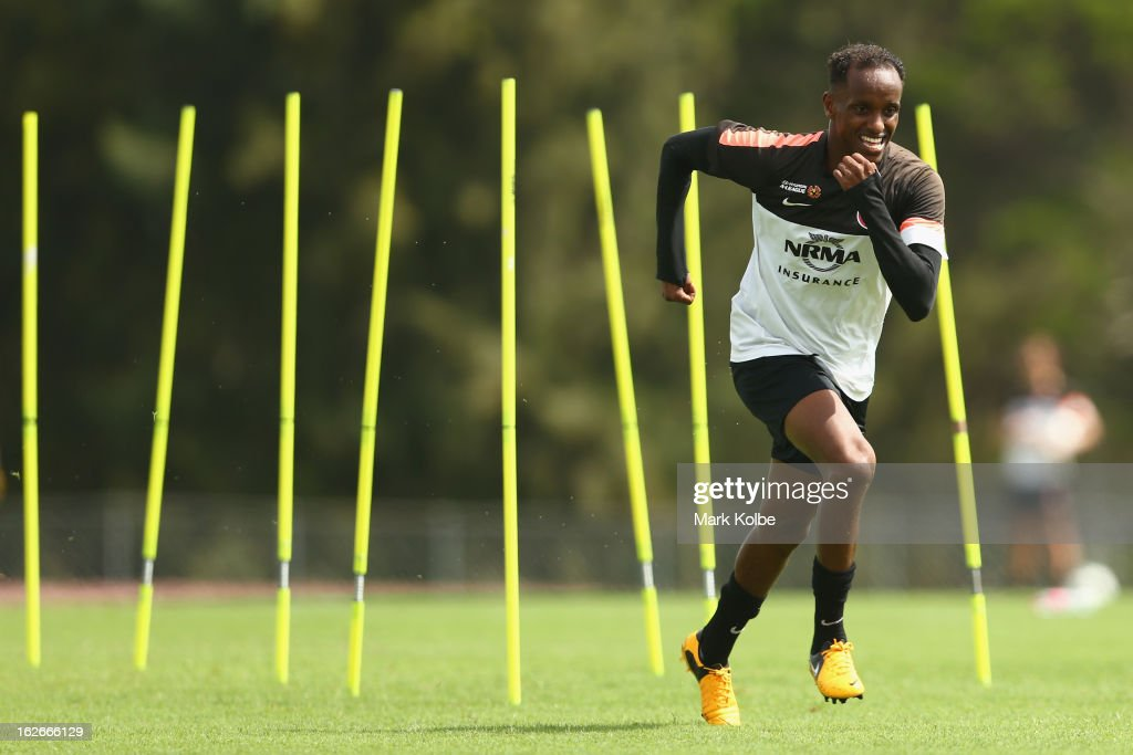 Youssouf Hersi runs in a drill during a Western Sydney Wanderers A-League training session at Blacktown International Sportspark on February 26, 2013 in Sydney, Australia.
