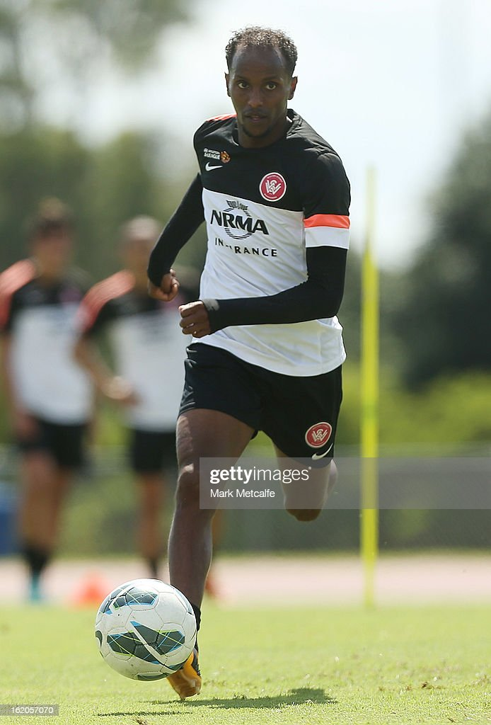 Youssouf Hersi runs with the ball during a Western Sydney Wanderers A-League training session at Blacktown International Sportspark on February 19, 2013 in Sydney, Australia.