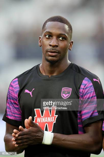 Youssouf Sankhare of Bordeaux waves fans before the UEFA Europa League qualifying match between Bordeaux and Videoton at Stade Matmut Atlantique on...