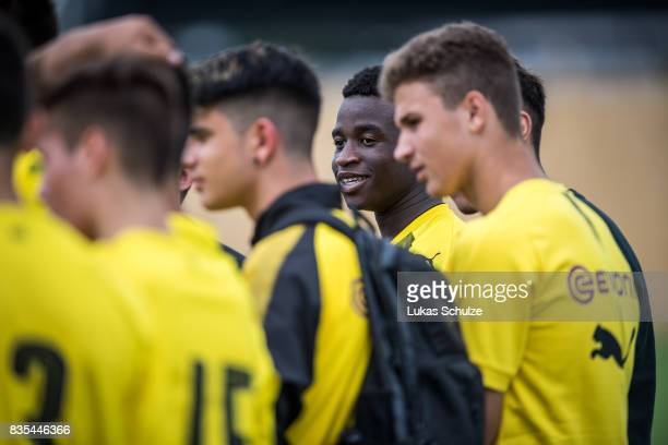 Youssoufa Moukoko after the B Juniors Bundesliga match between Borussia Dortmund and FC Viktoria Koeln on August 19 2017 in Dortmund Germany