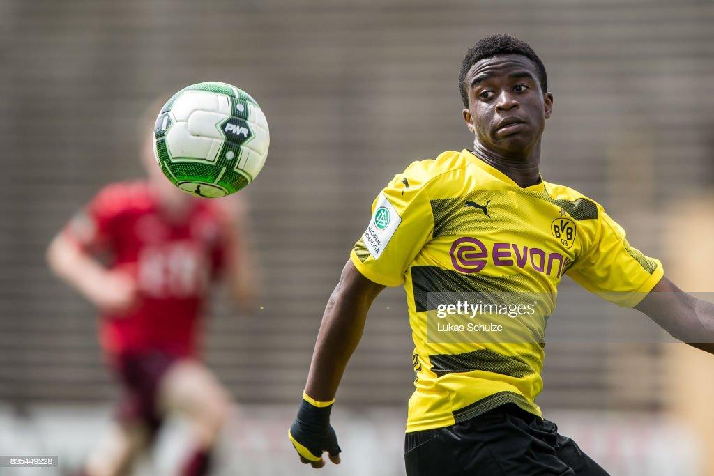 Youssoufa Moukoko in action during the B Juniors Bundesliga match between Borussia Dortmund and FC Viktoria Koeln on August 19, 2017 in Dortmund, Germany.