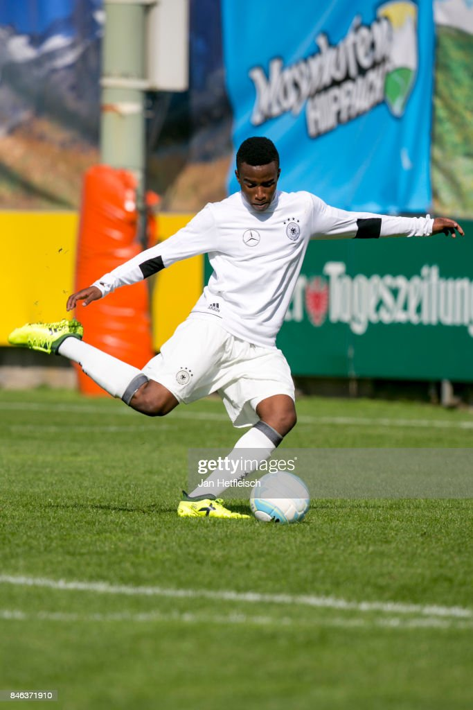 Youssoufa Moukoko of Germany during the International Friendly match between U16 Germany and U16 Austria on September 13, 2017 in Zell am Ziller, Austria.