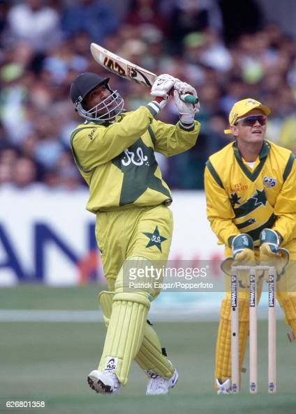 Yousuf Youhana batting for Pakistan during the World Cup group match between Australia and Pakistan at Headingley Leeds 23rd May 1999 The...