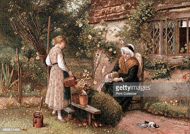 Youth and Age' 1866 An idylllic scene grandmother wearing a lace cap and a shawl sits in a cottage garden with her two grandchildren The girl uses a...