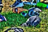 Youth baseball equipment laying on grass