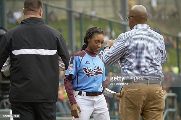 Little League World Series MidAtlantic Region Team Mo'ne Davis of Taney Youth Association from Philadelphia victorious receiving medal after winning...