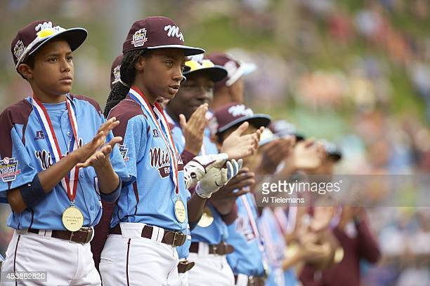 Little League World Series MidAtlantic Region Team Mo'ne Davis and Scott Bandura of Taney Youth Association from Philadelphia victorious with medals...
