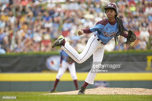Little League World Series MidAtlantic Region Team Mo'ne Davis of Taney Youth Association from Philadelphia in action pitching vs Southeast Region...