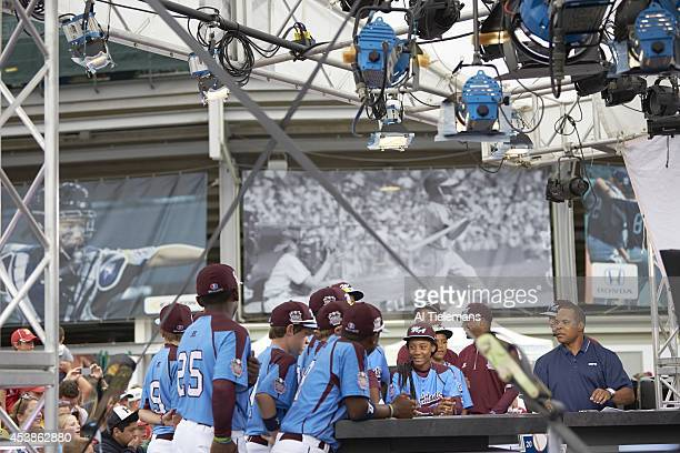 Little League World Series MidAtlantic Region Team Mo'ne Davis and Kai Cummings of Taney Youth Association from Philadelphia with teammates during...