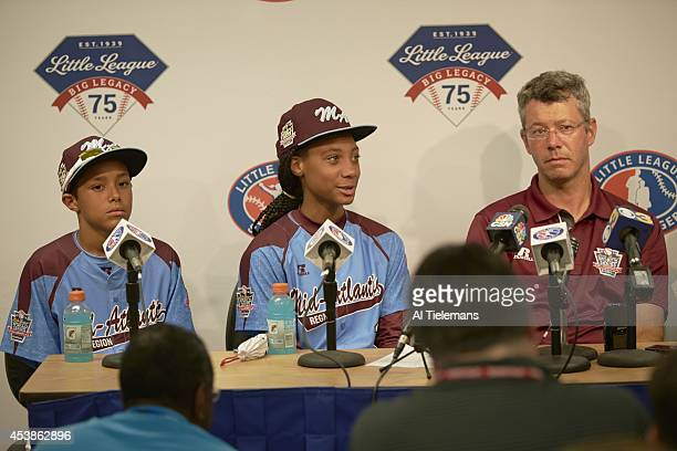 Little League World Series MidAtlantic Region Team Scott Bandura Mo'ne Davis and coach Alex Rice of Taney Youth Association from Philadelphia during...