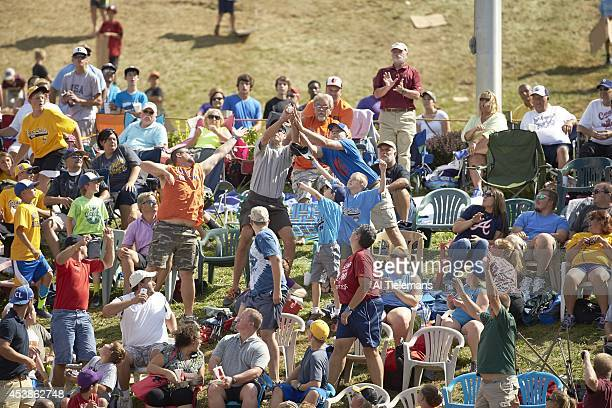 Little League World Series Overall view of fans in outfield attempting to catch homerun ball during Great Lakes Region Team of Jackie Robinson West...