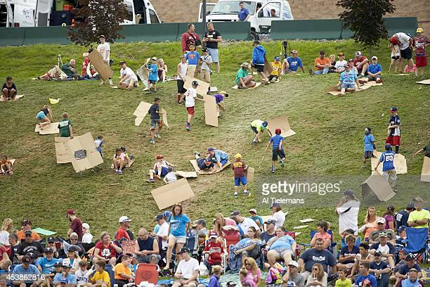 Little League World Series Overall view of youth fans sliding down outfield hill with cardboard during Round 1 of DoubleElimination Stage between...