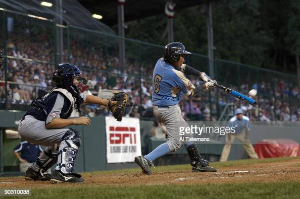 Little League World Series US Team West Andy Rios in action at bat during US Championship Game vs US Southwest at Howard J Lamade Stadium...