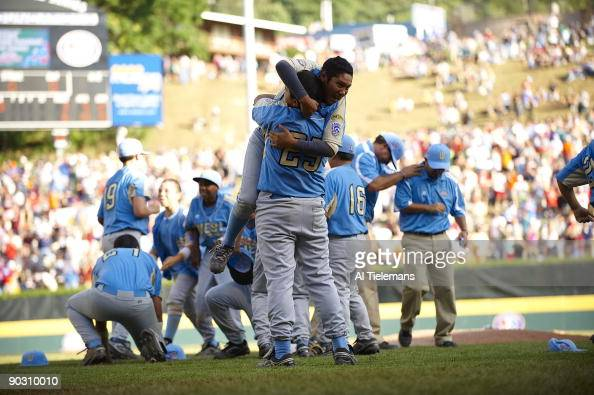 Little League World Series US Team West Andy Rios victorious after winning Championship Game vs Asia Pacific at Howard J Lamade Stadium Williamsport...