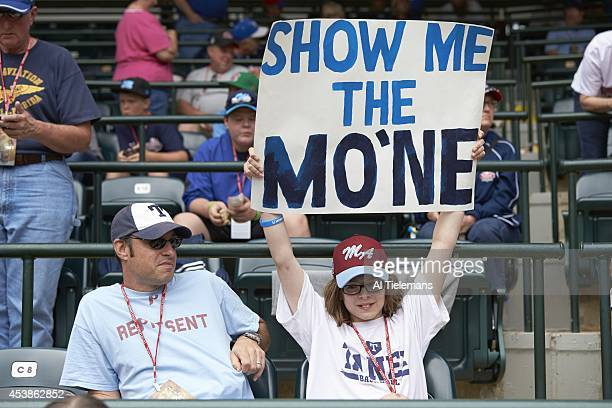 Little League World Series View of young girl fan with SHOW ME THE MO'NE sign in support of Mo'ne Davis of MidAtlantic Region Team of Taney Youth...