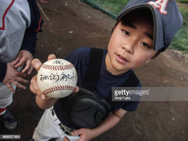 Youth Baseball Player, The first hit , memory