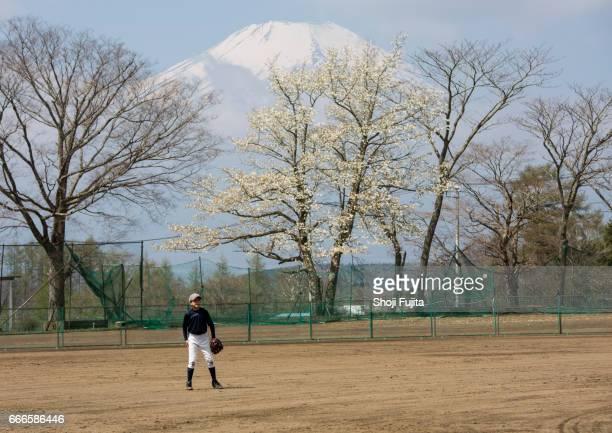 Youth Baseball Players,Defensive practice,Mt. Fuji