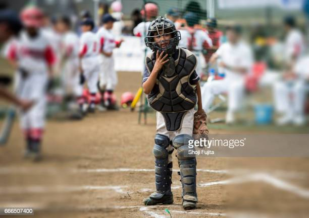Youth Baseball Players,playing game,catcher