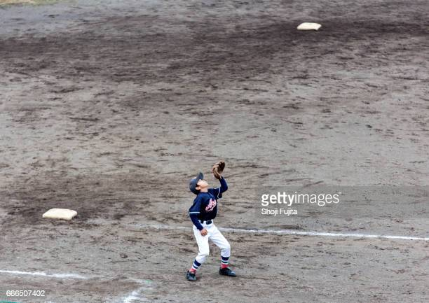 Youth Baseball Players,playing game,catching