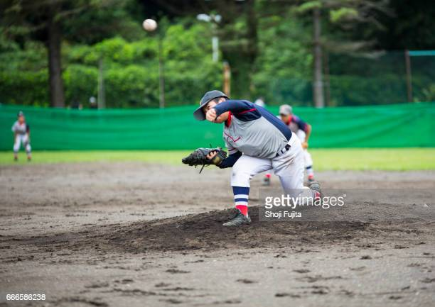 Youth Baseball Players,playing game,pitcher