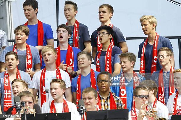 A youth choir sings during the the closing service of the 35th German Protestant Church Congress