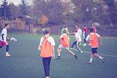 Youth football team having training