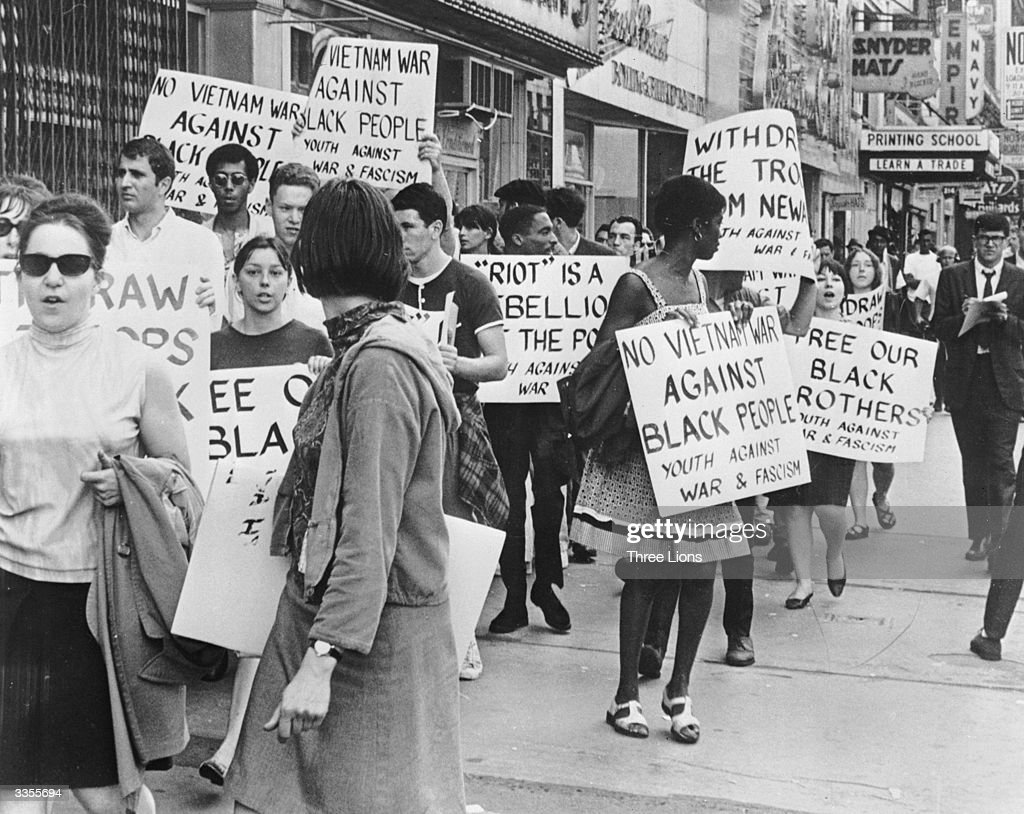 A youth group protesting about the use of Federal Troops to control the race riots in Newark, New Jersey.