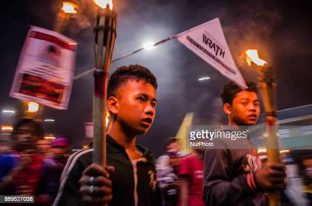 Youth groups join thousands of human rights activists in a protest held on the International Human Rights Day in Manila Philippines on 10 December...