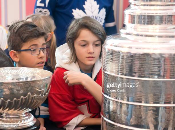 Youth hockey players from the Ottawa and Gatineau region during the Stanley Cup Homecoming as part of the Stanley Cups 125th anniversary celebrations...