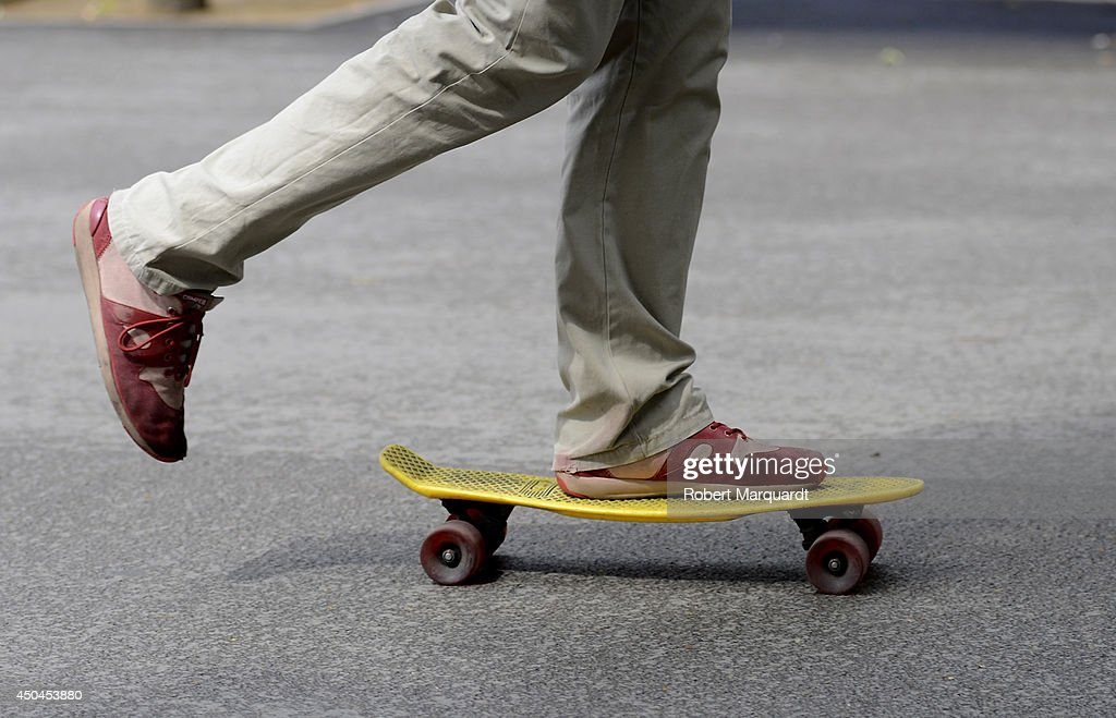 A youth is seen wearing Camper shoes on June 11, 2014 in Barcelona, Spain.