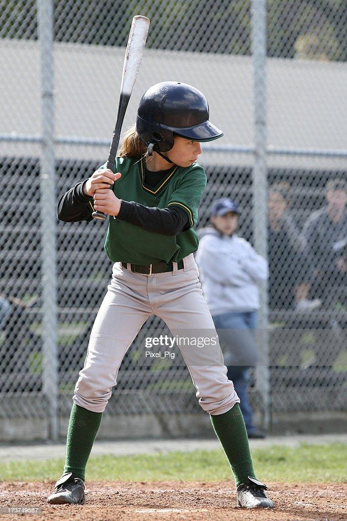 Youth League Girl Up at Bat