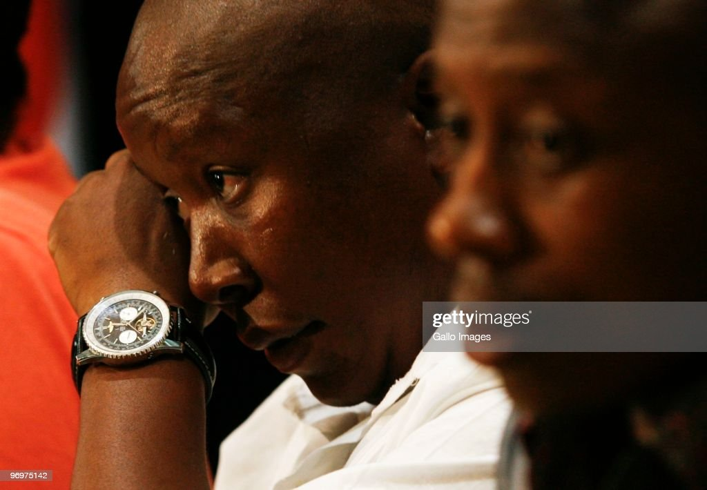 ANC Youth League president <a gi-track='captionPersonalityLinkClicked' href=/galleries/search?phrase=Julius+Malema&family=editorial&specificpeople=5866727 ng-click='$event.stopPropagation()'>Julius Malema</a> responds to media reports regarding his business interests and lavish lifestyle during a news conference at Luthuli House on 22 February 2010 in Johannesburg, South Africa. Malema also commented on the 2012 ANC conference and the nationalisation of mines. Pictured is Malema with his new Breitling Navitimer watch.