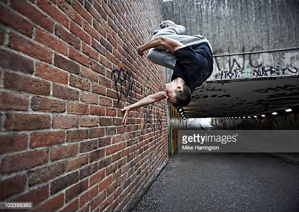 Youth performing parkour