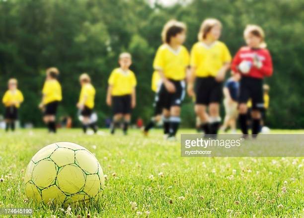 youth soccer team taking the field