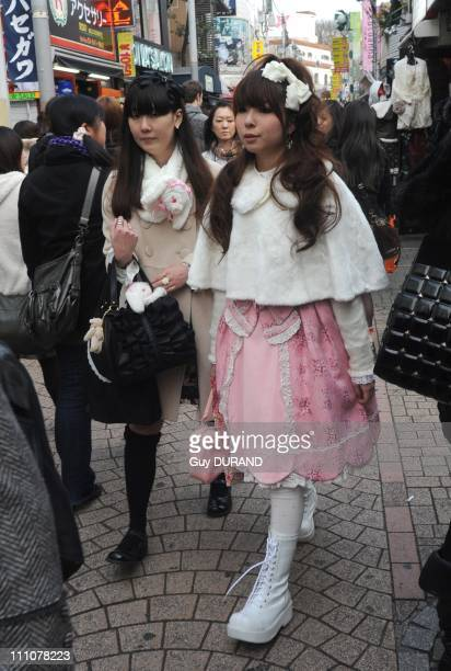 Youth Street Fashion in Tokyo Japan on December 31st 2009 Shibuya and Harajuku are the hotspots of the most amazing and eccentric looks in Tokyo...