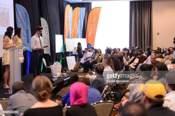Youth teams present their social good projects during the Allstate Foundation Good Starts Young Rally at The Wit Hotel on June 21 2017 in Chicago...
