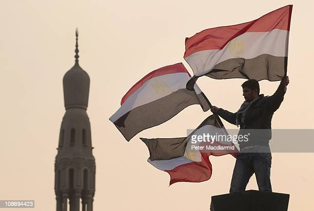 A youth waves Egyptian flags from a lamp post in Tahrir Square on February 1 2011 in Cairo Egypt The Egyptian army has said it will not fire on...