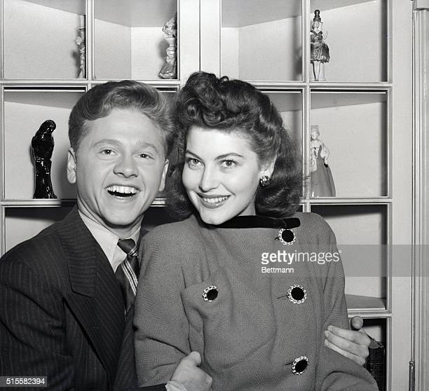 Youthful film star Mickey Rooney and Ava Gardner an 18yearold actress are shown after announcing their engagement