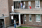 Youths on council estate Fulham London 2008