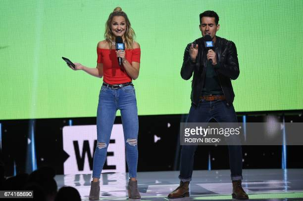 YouTube creators Chelsey Briggs and Daniel Fernandez speak on stage at WE Day California April 27 2017 at The Forum in Inglewood California WE Day...