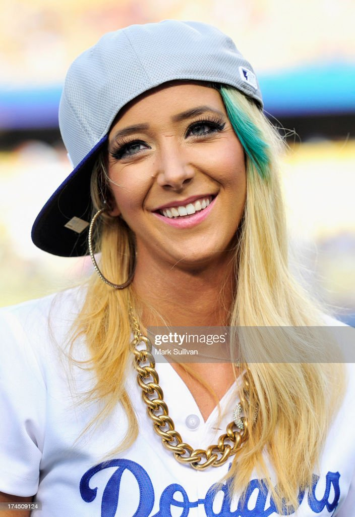 YouTube entertainer Jenna Marbles on the field before the MLB game between the Cincinnatti Reds and Los Angeles Dodgers at Dodger Stadium at Dodger Stadium on July 26, 2013 in Los Angeles, California.