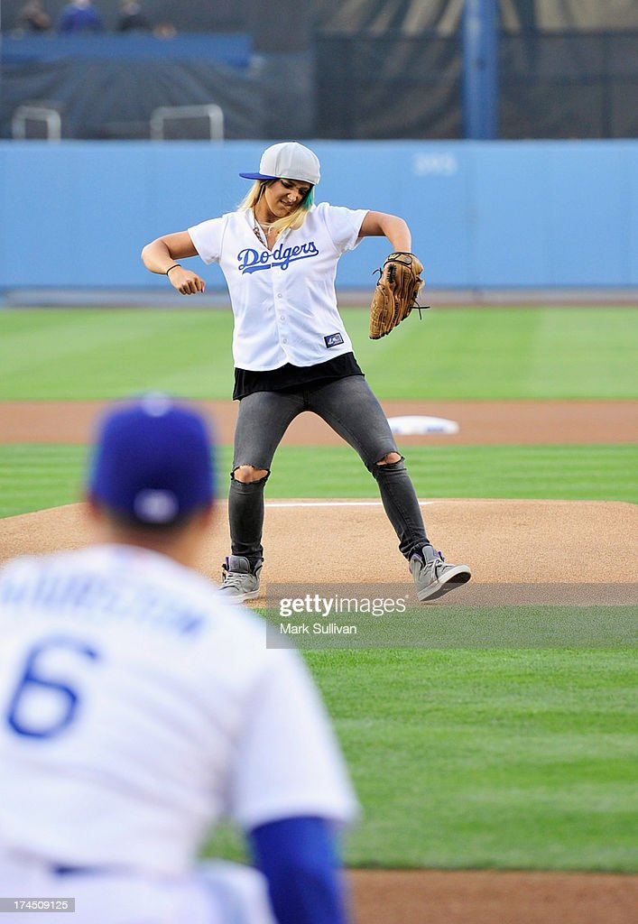 YouTube entertainer Jenna Marbles throws out the ceremonial first pitch before the MLB game between the Cincinnatti Reds and Los Angeles Dodgers at Dodger Stadium at Dodger Stadium on July 26, 2013 in Los Angeles, California.