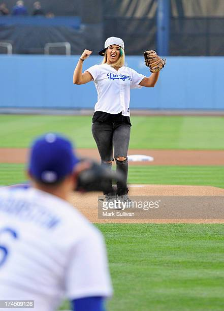 YouTube entertainer Jenna Marbles throws out the ceremonial first pitch before the MLB game between the Cincinnatti Reds and Los Angeles Dodgers at...