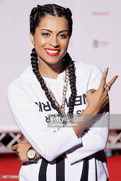 YouTube entertainer Superwoman arrives at the YouTube FanFest 2015 at Qantas Credit Union Arena on September 11 2015 in Sydney Australia