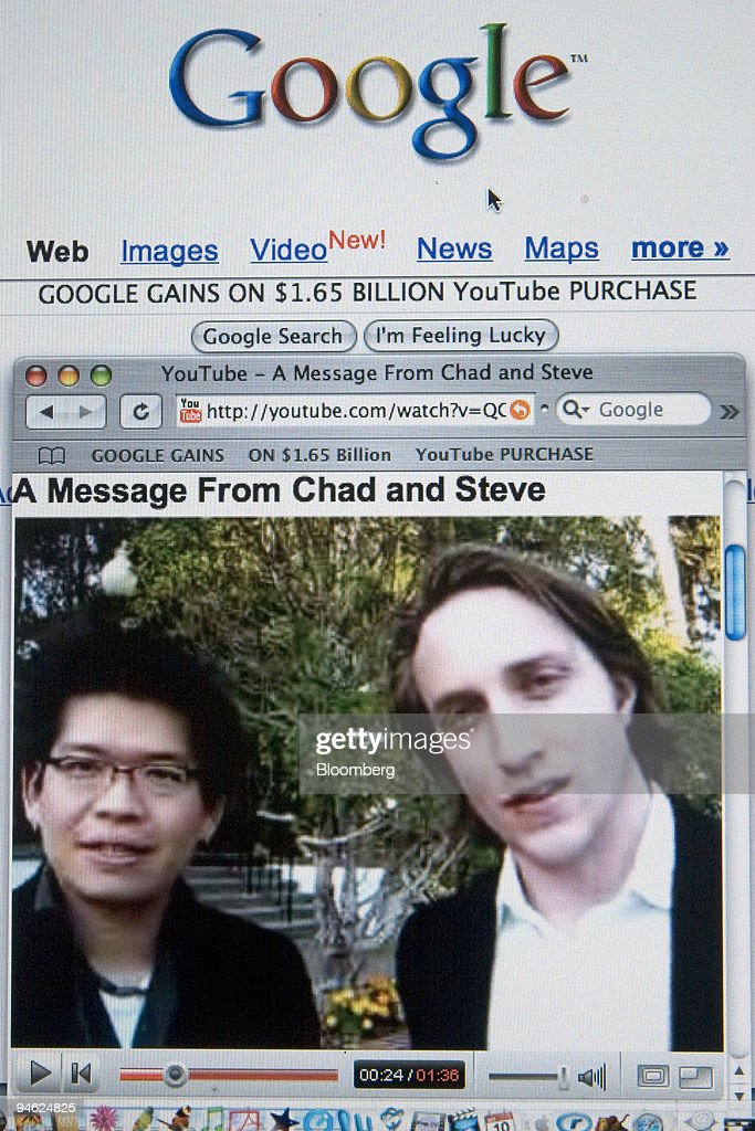 YouTube founders <a gi-track='captionPersonalityLinkClicked' href=/galleries/search?phrase=Steve+Chen+-+Internet+Entrepreneur&family=editorial&specificpeople=1114922 ng-click='$event.stopPropagation()'>Steve Chen</a>, left, and <a gi-track='captionPersonalityLinkClicked' href=/galleries/search?phrase=Chad+Hurley&family=editorial&specificpeople=4050711 ng-click='$event.stopPropagation()'>Chad Hurley</a> are shown, in a video clip posted on their website, sharing the news of their company's purchase by Google in a photograph made Tuesday, October 10, 2006, in Cambridge, Massachusetts. Shares of Google Inc., the most-used Internet search engine, rose after the company agreed to buy YouTube Inc. for $1.65 billion to add the largest video-sharing Web site and an audience that watches more than 100 million clips a day. The YouTube site is juxtaposed with the Google home page.