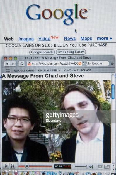 YouTube founders Steve Chen left and Chad Hurley are shown in a video clip posted on their website sharing the news of their company's purchase by...